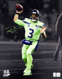Russell Wilson Autographed 16x20 Photo Seattle Seahawks Action Green Color Rush PGA Patch RW Holo Stock #159121