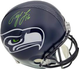 Tyler Lockett Autographed Seattle Seahawks Full Size Replica Helmet In Green MCS Holo Stock #159132