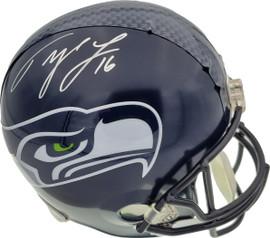 Tyler Lockett Autographed Seattle Seahawks Full Size Replica Helmet In Silver MCS Holo Stock #159133