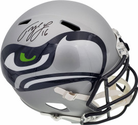 Tyler Lockett Autographed Seattle Seahawks AMP Full Size Speed Replica Helmet In Black MCS Holo Stock #159136