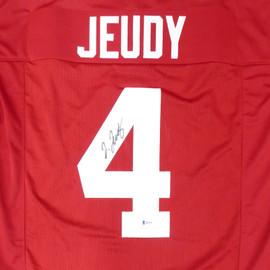 Alabama Crimson Tide Jerry Jeudy Autographed Red Jersey Beckett BAS Stock #159236