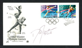 """Dan Jansen Autographed First Day Cover 1994 Olympics """"94 Gold"""" SKU #159589"""