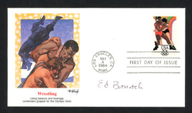 Ed Banach Autographed First Day Cover Olympic Wrestler SKU #159599