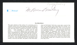 Myron Bruce Bradley Autographed First Day Cover Olympic Water Polo SKU #159609