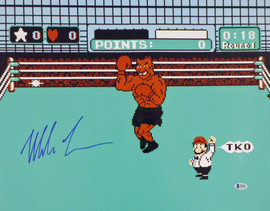 Mike Tyson Autographed 16x20 Photo Punch-Out In Blue Beckett BAS Stock #159679