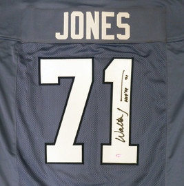 "Seattle Seahawks Walter Jones Autographed 2002-2011 Blue Jersey ""HOF '14"" MCS Holo Stock #159816"