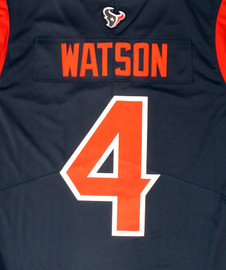Deshaun Watson Unsigned Houston Texans Blue / Red Twill Nike Size L SKU #159869