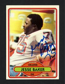 Jesse Baker Autographed 1980 Topps Rookie Card #100 Houston Oilers SKU #160201