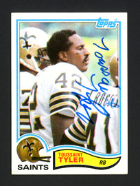 Toussaint Tyler Autographed 1982 Topps Rookie Card #412 New Orleans Saints SKU #160514