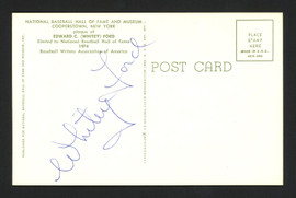 Whitey Ford Autographed HOF Plaque Postcard New York Yankees Lot of 5 Signed on Back SKU #161002