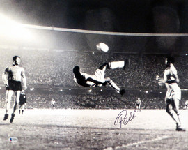 Pele Autographed 16x20 Photo CBD Brazil Bicycle Kick Beckett BAS Stock #161520