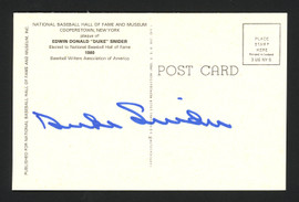 Duke Snider Autographed HOF Plaque Postcard Brooklyn Dodgers Signed on Back Lot of 4 SKU #161581