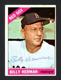 Billy Herman Autographed 1966 Topps Card #37 Boston Red Sox SKU #161685