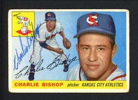 Charlie Bishop Autographed 1955 Topps Card #96 Kansas City A's SKU #162227