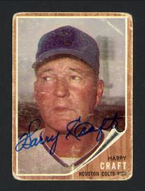 Harry Craft Autographed 1962 Topps Card #12 Houston Colt .45's SKU #162272