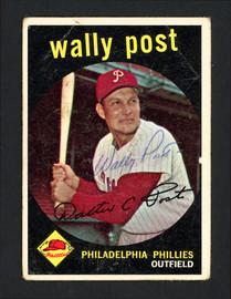 Wally Post Autographed 1959 Topps Card #398 Philadelphia Phillies SKU #162326