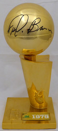 """Fred Brown Autographed Seattle SuperSonics 1979 NBA Finals Champions 12"""" Replica Larry O'Brien Trophy with Sublimated Plate MCS Holo Stock #161461"""
