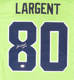 "Seattle Seahawks Steve Largent Autographed Nike Action Green Twill Jersey Size L ""HOF 95"" MCS Holo Stock #161512"