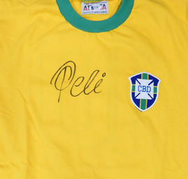 CBD Brazil Pele Autographed Yellow Athleta Short Sleeve Jersey Beckett BAS Stock #161456