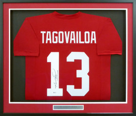 Alabama Crimson Tide Tua Tagovailoa Autographed Framed Red Jersey Beckett BAS Stock #162370