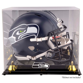 Seattle Seahawks Golden Classic Helmet Display Case with Mirrored Back Stock #162364