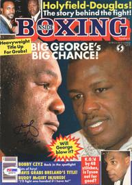 "George Foreman & James ""Buster"" Douglas Autographed Inside Boxing Magazine Cover PSA/DNA #Q95675"