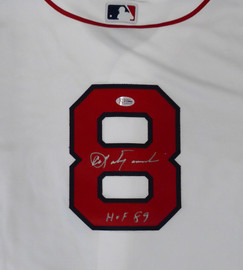 "Boston Red Sox Carl Yastrzemski Autographed White Majestic Cool Base Jersey ""HOF 89"" Size L Beckett BAS Stock #162356"