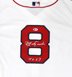 "Boston Red Sox Carl Yastrzemski Autographed White Majestic Cool Base Jersey ""TC 67"" Size XL Beckett BAS Stock #162358"