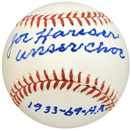 "Joe Hauser Autographed Official AL Baseball Baltimore Orioles ""Unser Choe"" PSA/DNA #H31693"