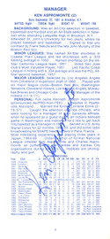 Ken Aspromonte Autographed 1973 Cleveland Indians Press Media Guide SKU #162924