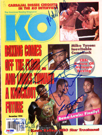 Boxing Greats Autographed KO Boxing Magazine Cover With 5 Total Signatures Including Mike Tyson & Riddick Bowe PSA/DNA #S01524