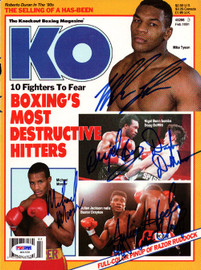 Boxing Greats Autographed KO Boxing Magazine Cover With 5 Total Signatures Including Mike Tyson PSA/DNA #S01530