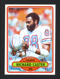 Richard Caster Autographed 1980 Topps Card #198 Houston Oilers SKU #164083