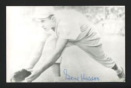 Gene Hasson Autographed 3.5x5.5 Jim Rowe Postcard Philadelphia A's SKU #164885