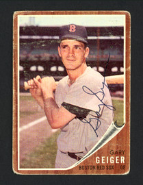 Gary Geiger Autographed 1962 Topps Card #117 Boston Red Sox SKU #165241