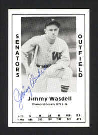 Jimmy Wasdell Autographed 1979 Diamond Greats Card #56 Washington Senators SKU #165566