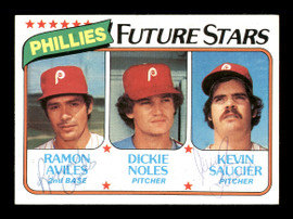 Ramon Aviles & Kevin Saucier Autographed 1980 Topps Rookie Card #682 Philadelphia Phillies SKU #166391