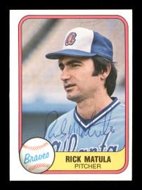 Rick Matula Autographed 1981 Fleer Card #263 Atlanta Braves SKU #166540