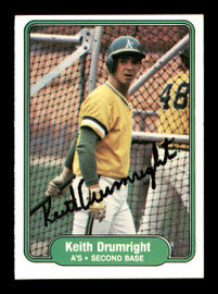 Keith Drumright Autographed 1982 Fleer Rookie Card #89 Oakland A's SKU #166754