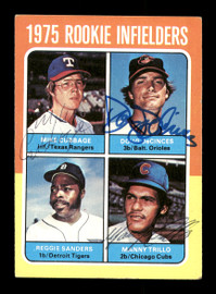 Doug DeCinces, Manny Trillo & Mike Cubbage Autographed 1975 Topps Rookie Card #617 SKU #166940