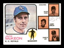Harry Dunlop Autographed 1973 Topps Card #593 Kansas City Royals Coach SKU #167184