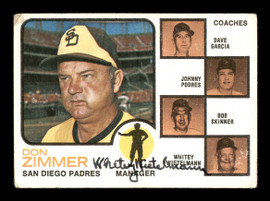 Whitey Wietelmann Autographed 1973 Topps Card #12 San Diego Padres Coach SKU #167197