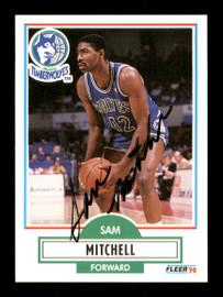Sam Mitchell Autographed 1990-91 Fleer Card #114 Minnesota Timberwolves SKU #167435