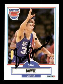 Sam Bowie Autographed 1990-91 Fleer Card #118 New Jersey Nets SKU #167438