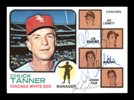 Chuck Tanner & Johnny Sain Autographed 1973 Topps Card #356 Chicago White Sox SKU #167569