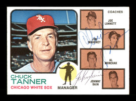 Chuck Tanner & Johnny Sain Autographed 1973 Topps Card #356 Chicago White Sox SKU #167570
