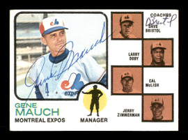 Gene Mauch & Dave Bristol Autographed 1973 Topps Card #377 Montreal Expos SKU #167599