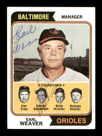 Earl Weaver & George Bamberger Autographed 1974 Topps Card #306 Baltimore Orioles SKU #167616