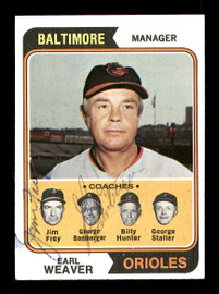 George Bamberger & Jim Frey Autographed 1974 Topps Card #306 Baltimore Orioles SKU #167620