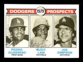 Pedro Guerrero & Rudy Law Autographed 1979 Topps Rookie Card #719 Los Angeles Dodgers SKU #167844